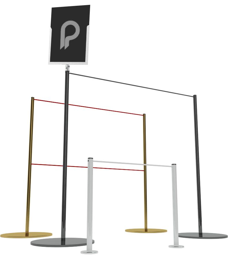 Poteaux de guidage pour musées - Divers formats